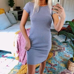 vtg striped bodycon midi dress